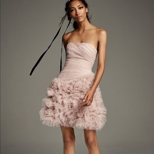 White by Vera Wang Draped Tulle Mini Dress